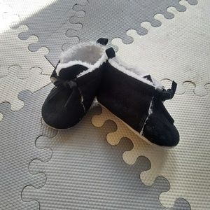 Other - Black/White Suade Moccasin Baby Slippers